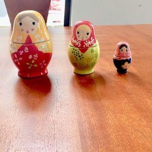 🥳Antique Ceramic Russian doll food measuring set